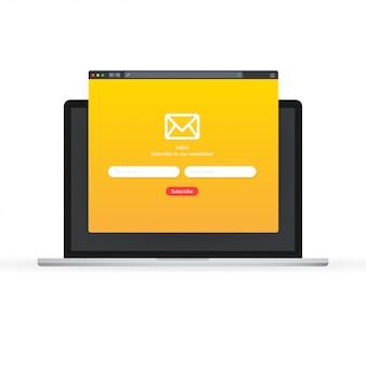 Abonneer u op ons nieuwsbriefformulier. aanmeldingsformulier met envelop, e-mailteken. illustratie.