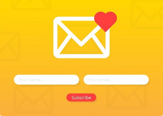 Abonneer u op ons nieuwsbriefformulier inschrijfformulier met envelop e-mailteken
