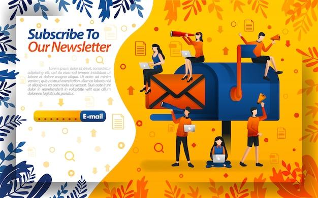 Abonneer u op onze nieuwsbrief met geïllustreerde mailboxen en brieven