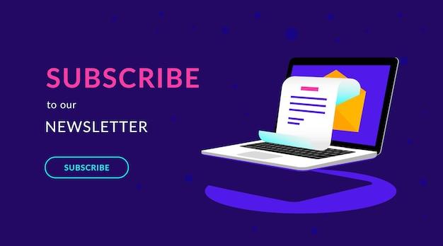Abonneer u op onze nieuwsbrief platte vector neonillustratie voor ui ux webdesign met tekst en knop