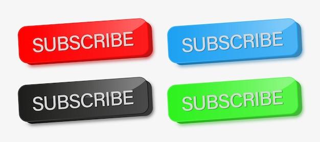 Abonneerknoppen in 3d modern in verschillende kleuren voor sociale mediaplatforms