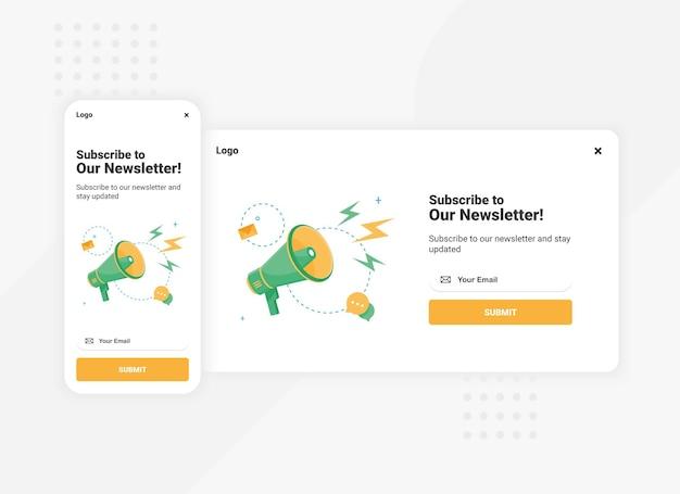 Abonnement op nieuwsbrief pop-up bannersjabloon voor mobiele en desktopversie