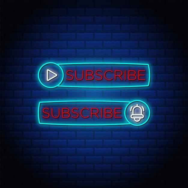 Abonneren knop neonreclames stijl tekst- en belpictogram.