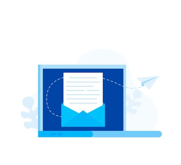 Abonneren op nieuwsbrief concept. open bericht met het document. papieren vliegtuigen pictogram. moderne vlakke stijl vectorillustratie
