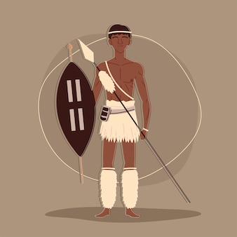 Aboriginal krijger karakter Premium Vector