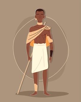 Aboriginal man gekleed in traditionele