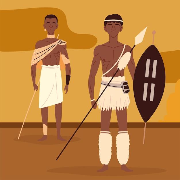 Aboriginal mannen krijger Premium Vector