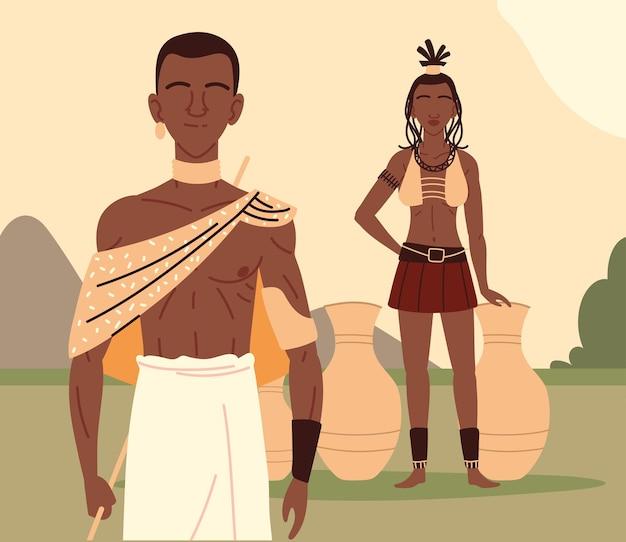 Aboriginal paar karakters