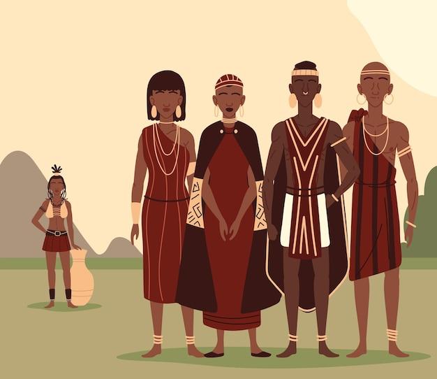 Aboriginals samen Premium Vector