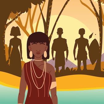 Aboriginals van afrika Premium Vector