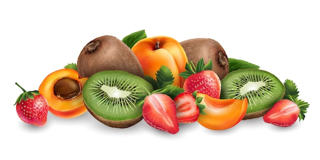 Abrikoos, aardbei en kiwi