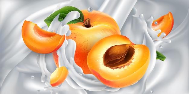 Abrikozen in een scheutje uit een stroom gieten melk.