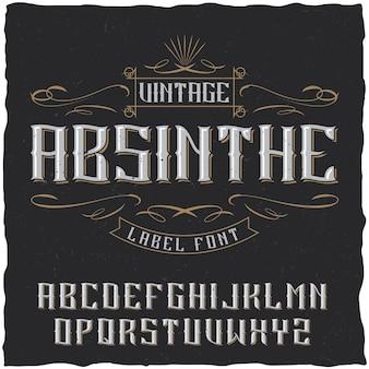 Absinthe-etiketlettertype en voorbeeldlabelontwerp