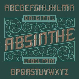 Absinthe-label lettertype en voorbeeldlabel