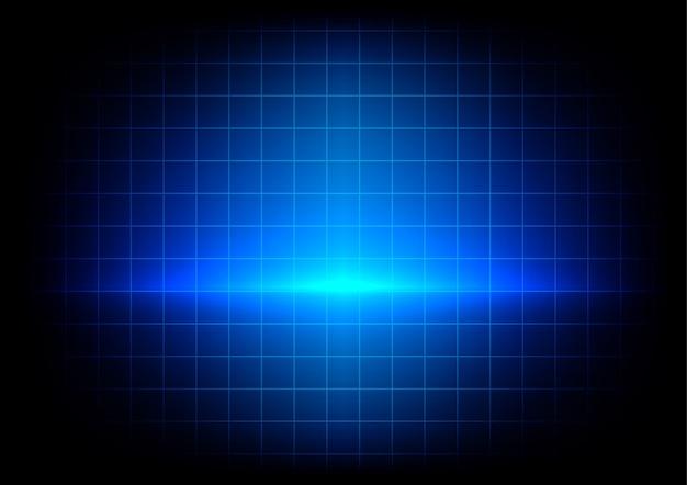 Absract blauwe verlichting en tafel op blauwe achtergrond