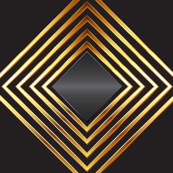 Abstactachtergrond met gouden diamantframes