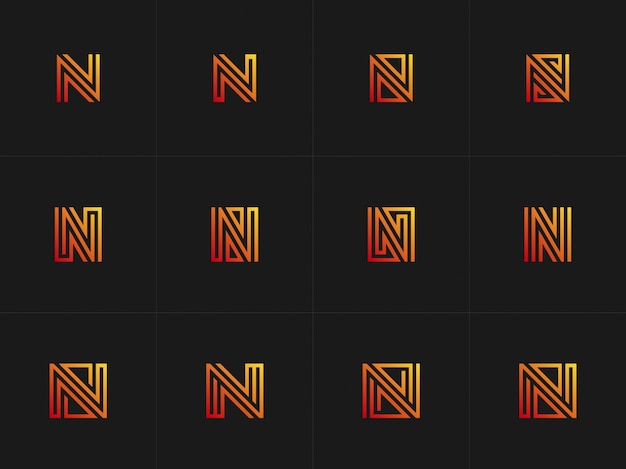 Abstrac collectie letter n logo met gradiant kleur
