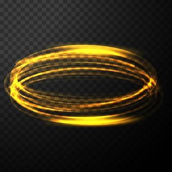 Abstrac gloeiend transparant gouden lichteffect met cirkelgolf