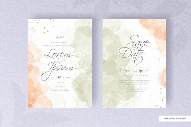 Abstrack bruiloft uitnodigingskaart set sjabloon met kleurrijke handgeschilderde vloeibare aquarel