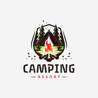 Abstrack canping resort logo ontwerp templat ilustration