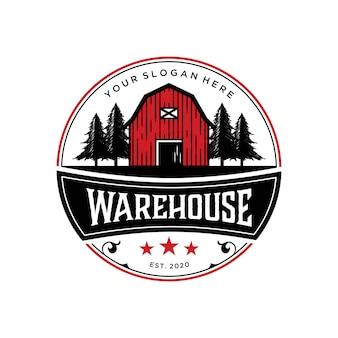 Abstrack magazijn schuur logo vintage premium ontwerpsjabloon