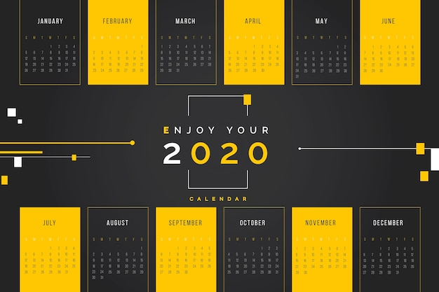 Abstract 2020 kalendersjabloon