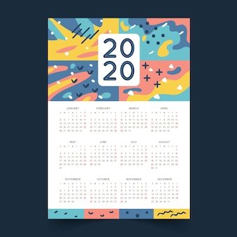 Abstract 2020 kalendersjabloon