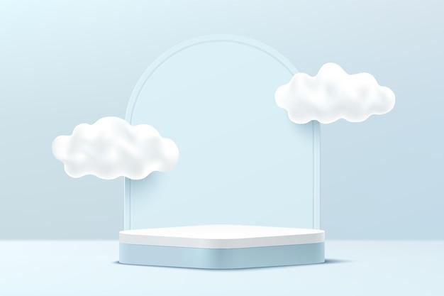 Abstract 3d lichtblauw en wit rond hoekvoetstukpodium met wolkenhemel en geometrische achtergrond