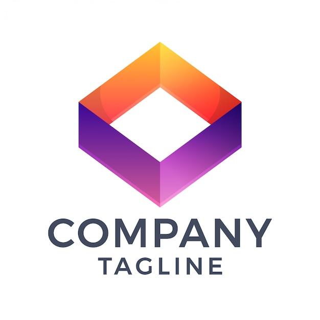 Abstract 3d modern vierkant diamant oranje paars verloop logo-ontwerp