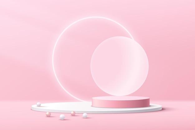 Abstract 3d roze wit cilinder voetstuk podium en geometrisch vormplatform met neon cirkelvorm