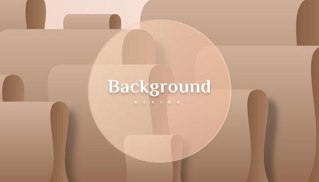 Abstract 3d vouwen bruin goud gradiënt luxe achtergrondontwerp.