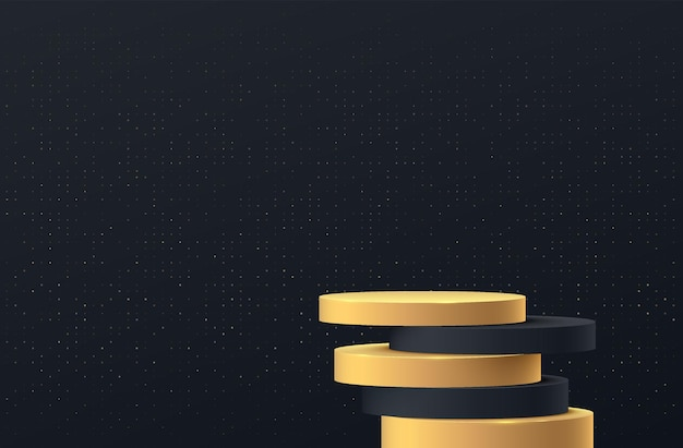 Abstract 3d zwart gouden cilinder voetstuk podium overlap met schaduw en gouden glitter muurscène