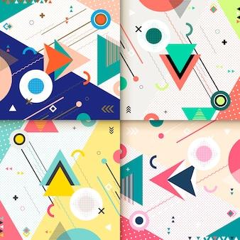 Abstract achtergrondpatroonontwerp ingesteld met kleurrijke geometrische elementen