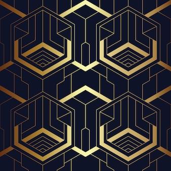 Abstract art deco naadloos blauw en gouden patroon
