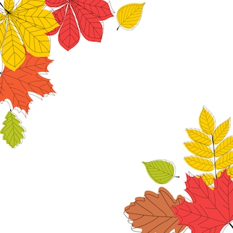 Abstract autumn leaves op witte achtergrond. illustratie