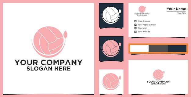 Abstract bal groen blad logo en visitekaartje premium