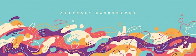 Abstract bannerontwerp met kleurrijke vloeibare vormen.