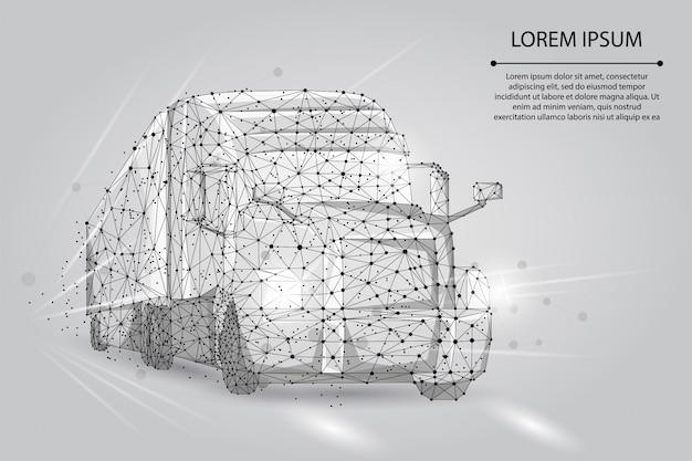 Abstract beeld van een vrachtwagen bestaande uit punten, lijnen en vormen