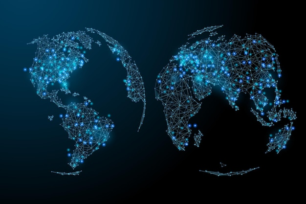 Abstract beeld van een wereldkaart in de vorm van een sterrenhemel of ruimte bestaande uit puntenlijnen