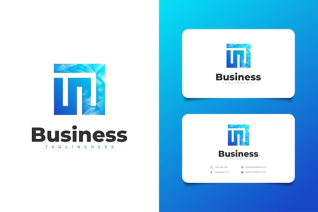 Abstract beginletter m of n-logo met modern concept in blauw kleurverloop