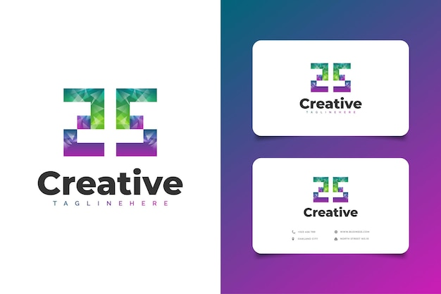 Abstract beginletter ss-logo met modern verloopconcept en visitekaartje