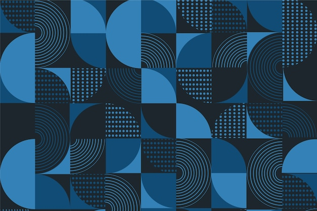 Abstract behang met klassieke blauwe vormen