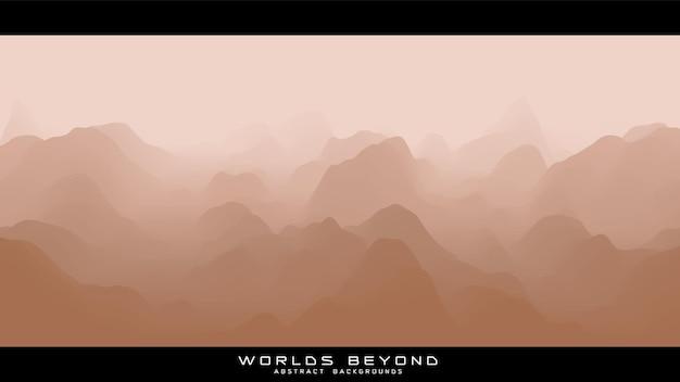 Abstract beige landschap met mistige mist tot horizon over berghellingen. gradiënt geërodeerd terreinoppervlak.