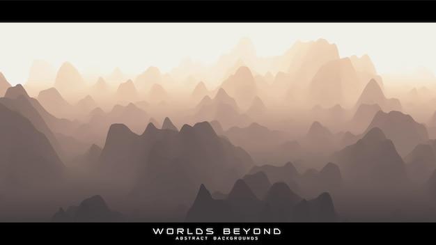 Abstract beige landschap met mistige mist tot horizon over berghellingen