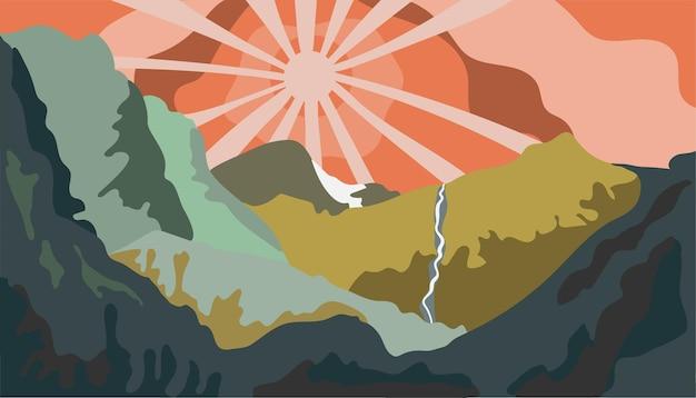 Abstract berglandschap plat ontwerp met een retro gevoel