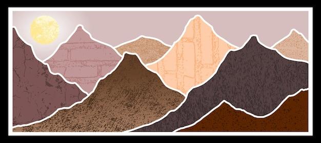 Abstract bergschilderij, abstracte achtergrond, premium vector