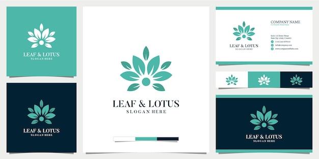 Abstract blad en lotuslogo met visitekaartjeontwerp