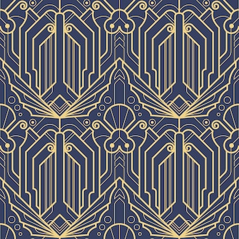 Abstract blauw art deco naadloos patroon