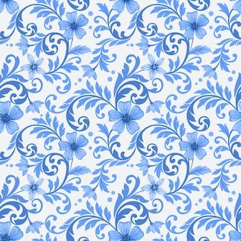 Abstract blauw bloemen ornament naadloos patroon.