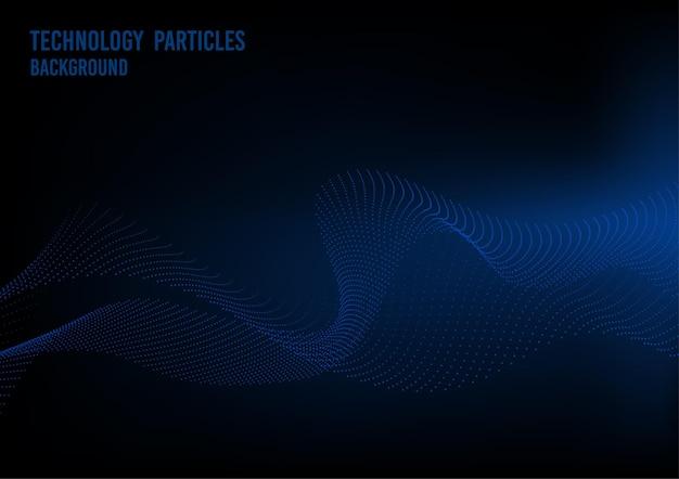 Abstract blauw deeltje van golvende het kunstwerktechnologie van het puntenelement. overlapping van perspectief digitale achtergrond